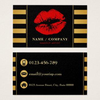 Maquilhador preto elegante do ouro (personalize) cartão de visitas