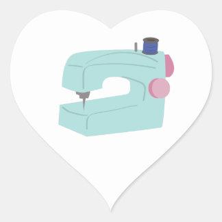 Máquina de costura adesivo coração