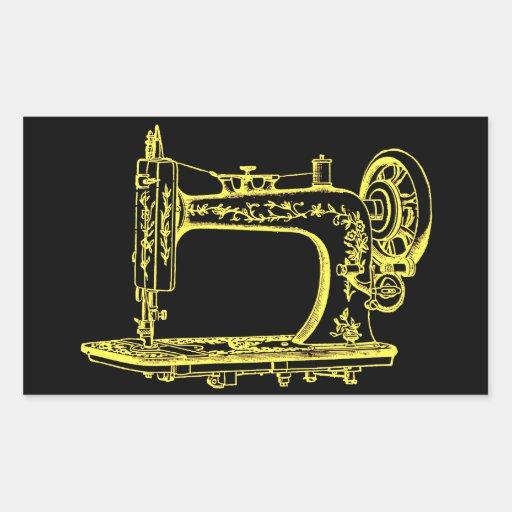 Máquina de costura alterada antiguidade do design adesivo retângular