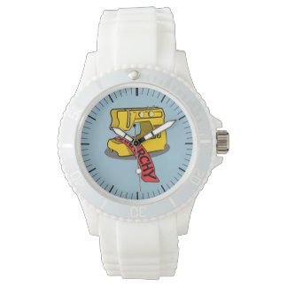 Máquina de costura amarela da anarquia relógios de pulso