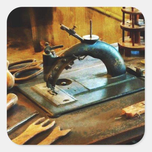 Máquina de costura antiquado adesivos quadrados