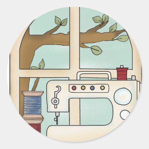 máquina de costura adesivo em formato redondo
