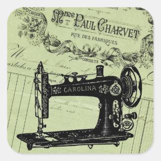 Máquina de costura chique francesa do vintage adesivo quadrado