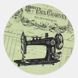Máquina de costura chique francesa do vintage adesivos em formato redondos