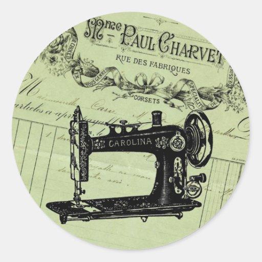 Máquina de costura chique francesa do vintage adesivos redondos