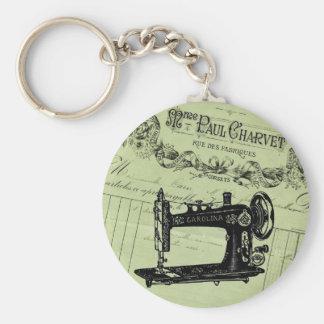Máquina de costura chique francesa do vintage chaveiros