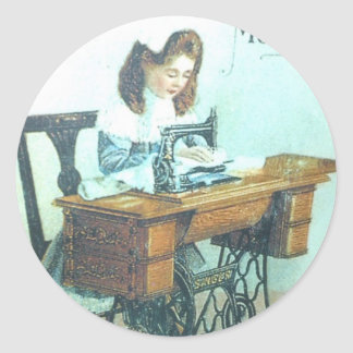 Máquina de costura do vintage adesivo redondo