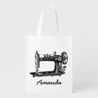Máquina de costura do vintage personalizada sacolas ecológicas para supermercado