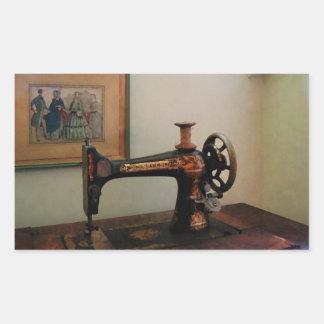 Máquina de costura e litografia adesivo retângular