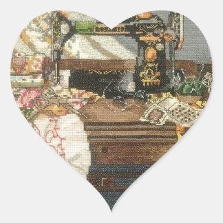 Máquina de costura e vestido adesivo coração