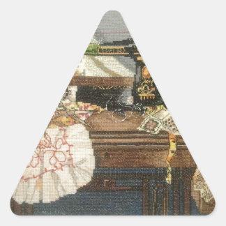 Máquina de costura e vestido adesivo triangular