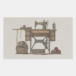 Máquina de costura & gatinhos do Treadle Adesivo Retangular