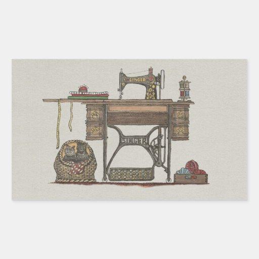 Máquina de costura & gatinhos do Treadle Adesivos Em Formato Retangulares