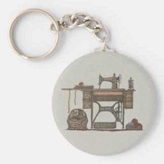 Máquina de costura & gatinhos do Treadle Chaveiro