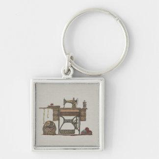 Máquina de costura & gatinhos do Treadle Chaveiro Quadrado Na Cor Prata