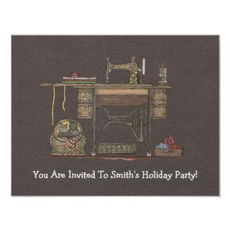 Máquina de costura & gatinhos do Treadle Convite 10.79 X 13.97cm