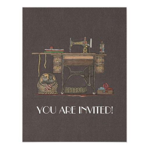 Máquina de costura & gatinhos do Treadle Convite Personalizado
