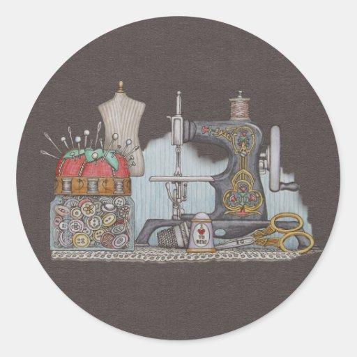 Máquina de costura psta mão adesivos redondos