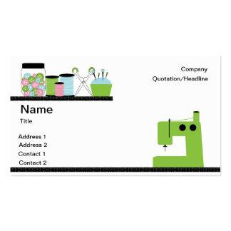 Máquina de costura verde modelos cartões de visitas