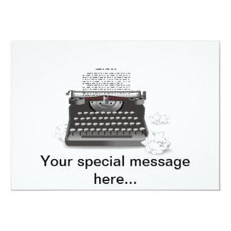 Máquina de escrever antiga convite 12.7 x 17.78cm