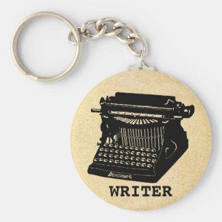 Máquina de escrever antiga do escritor chaveiros
