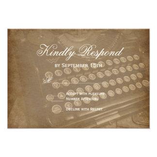 Máquina de escrever antiga do vintage que Wedding Convites Personalizado