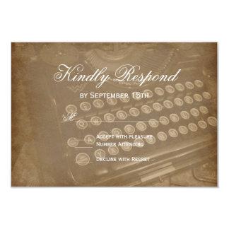 Máquina de escrever antiga do vintage que Wedding Convite 8.89 X 12.7cm