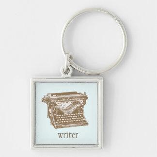Máquina de escrever chaveiro quadrado na cor prata