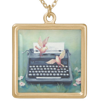 Máquina de escrever & colar do encanto dos