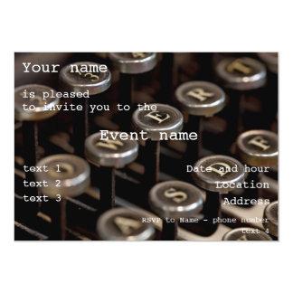 Máquina de escrever convite personalizado