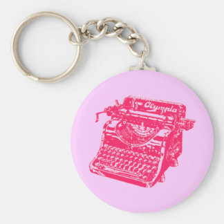 Máquina de escrever cor-de-rosa do vintage chaveiros