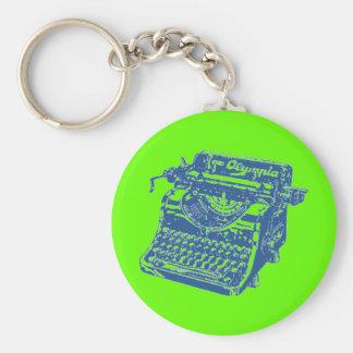 Máquina de escrever do azul do vintage chaveiro