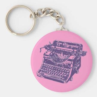 Máquina de escrever do roxo do vintage chaveiro