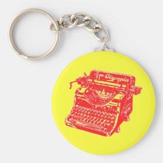 Máquina de escrever do vermelho do vintage chaveiro