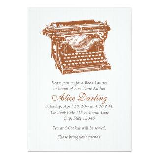 Máquina de escrever do vintage convite 12.7 x 17.78cm
