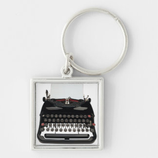 Máquina de escrever do vintage chaveiro quadrado na cor prata