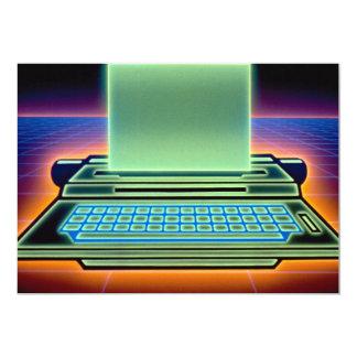 Máquina de escrever gráfica convites personalizados