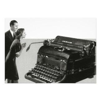 Máquina de escrever manual gigante do vintage convites