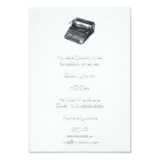 Máquina de escrever retro silenciosa de luxe convite 8.89 x 12.7cm