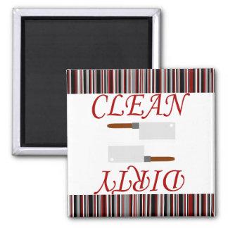Máquina de lavar louça limpa ou suja listrada ímã quadrado
