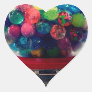 Máquina do brinquedo do bubblegum dos doces retro adesivo coração