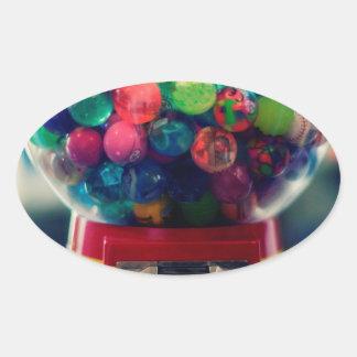 Máquina do brinquedo do bubblegum dos doces retro adesivo oval