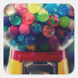 Máquina do brinquedo do bubblegum dos doces retro adesivo quadrado