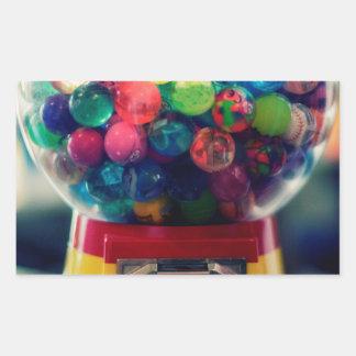 Máquina do brinquedo do bubblegum dos doces retro adesivo retangular