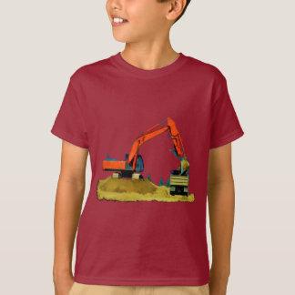 Máquina escavadora alaranjada e camião basculante camiseta
