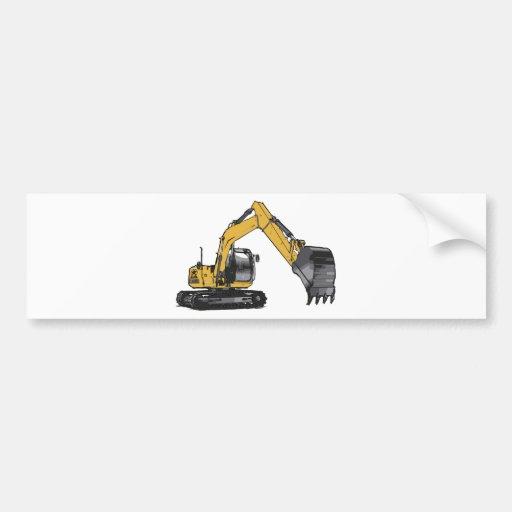 Máquina escavadora amarela grande adesivo