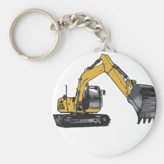 Máquina escavadora amarela grande chaveiro