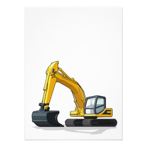 Máquina escavadora convites personalizado