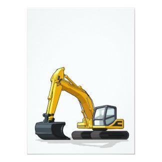 Máquina escavadora convite 13.97 x 19.05cm