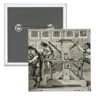 Máquina impressora francesa, 1642 (gravura) bóton quadrado 5.08cm